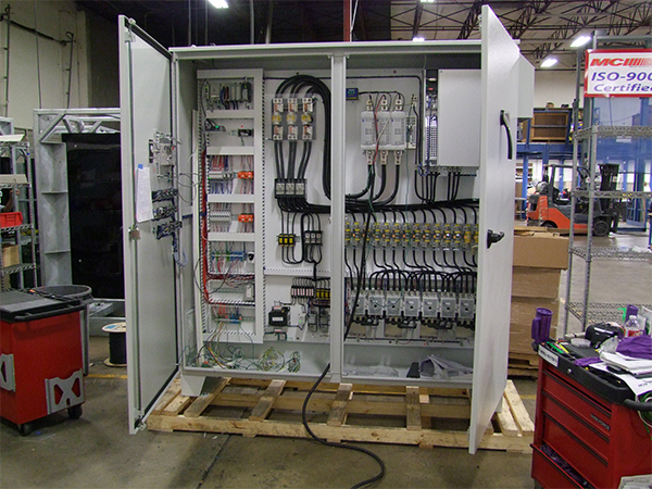 MCI custom control solution with doors open.