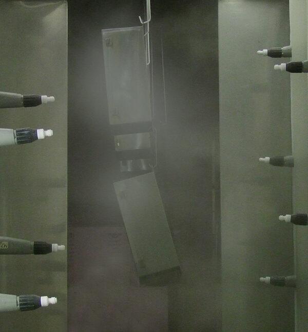 Image of Motor Controls Powder Coating in progress