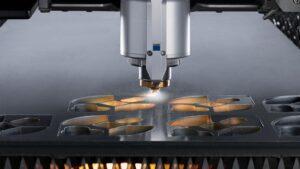 Close up of a Trumpf TruLaser tip cutting steel.