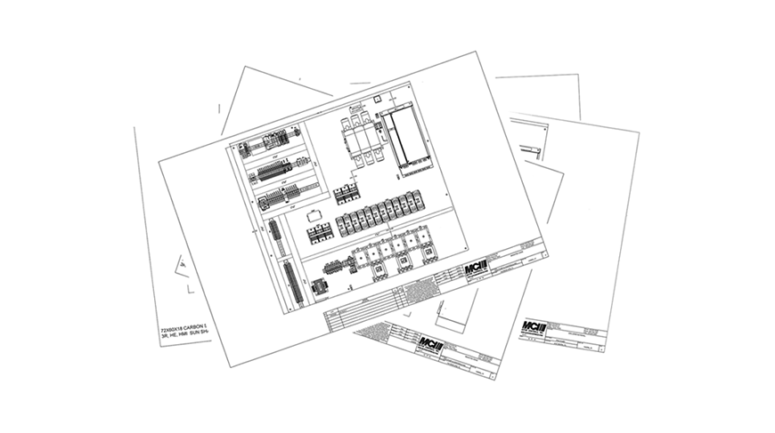 CAD drawing of control solututions showing MCI's Engineering & Development capability.